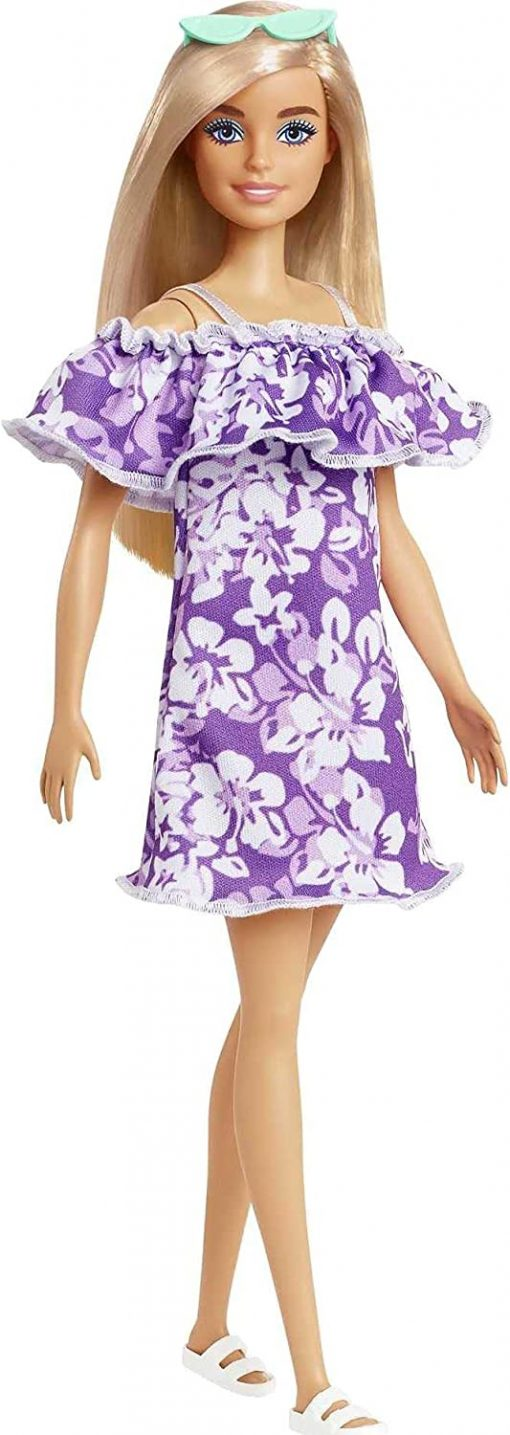 Barbie Loves The Ocean Beach-Themed Doll (11.5-inch Blonde), Made from Recycled Plastics, Wearing Fashion & Accessories, Gift for 3 to 7 Year Olds
