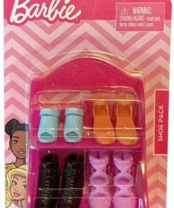 Barbie Shoe Pack - Pink Shelf with 4 Pairs of Barbie Shoes