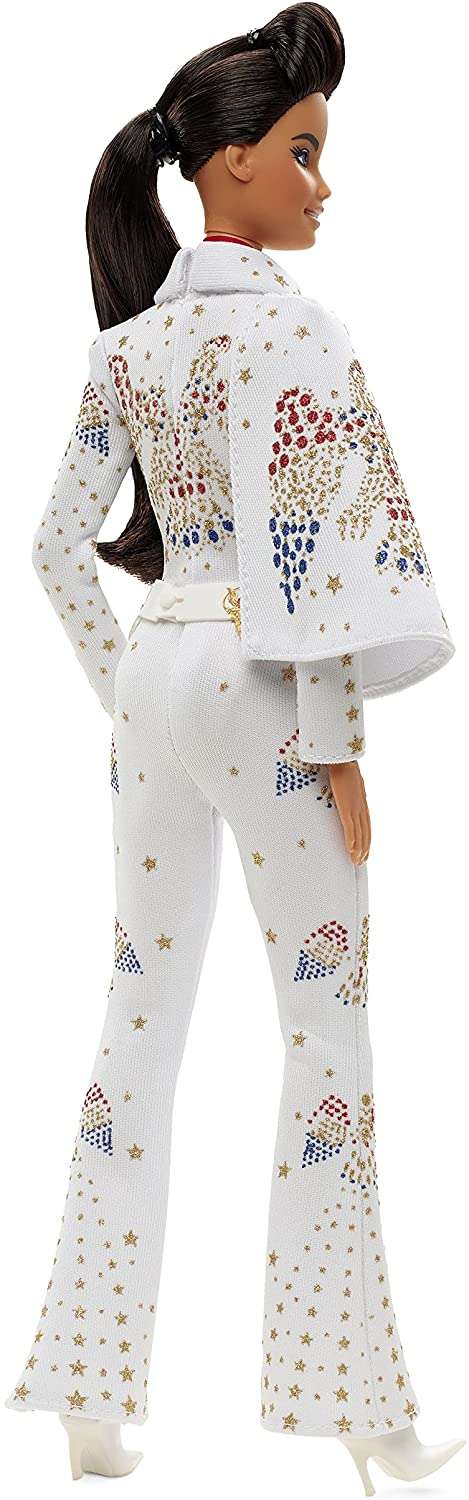 """Barbie Signature Elvis Presley Doll (12-in) with Pompadour Hairstyle, Wearing """"American Eagle"""" Jumpsuit, Gift for Collectors 11"""