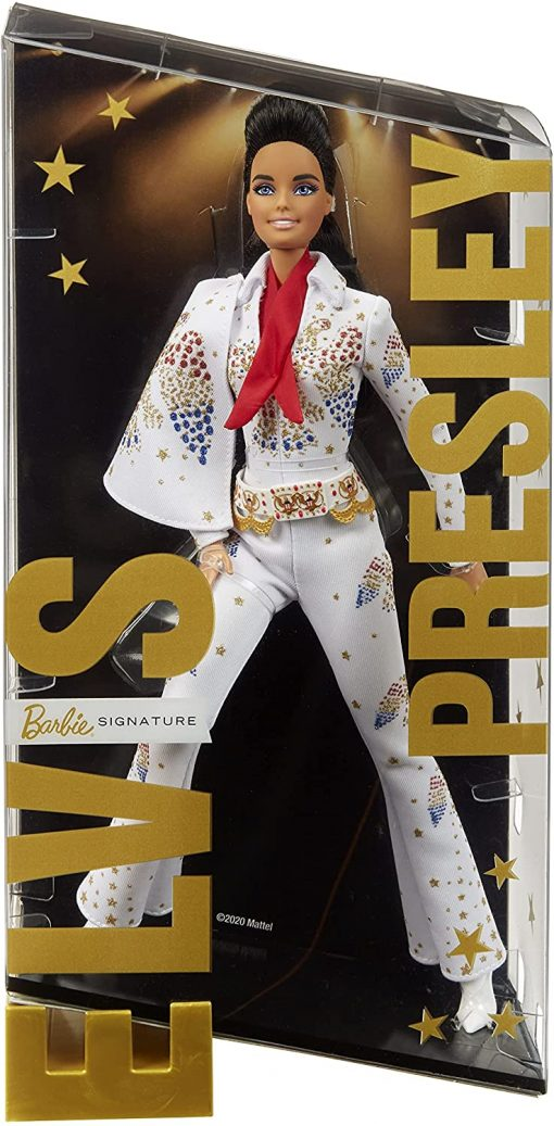 """Barbie Signature Elvis Presley Doll (12-in) with Pompadour Hairstyle, Wearing """"American Eagle"""" Jumpsuit, Gift for Collectors 5"""