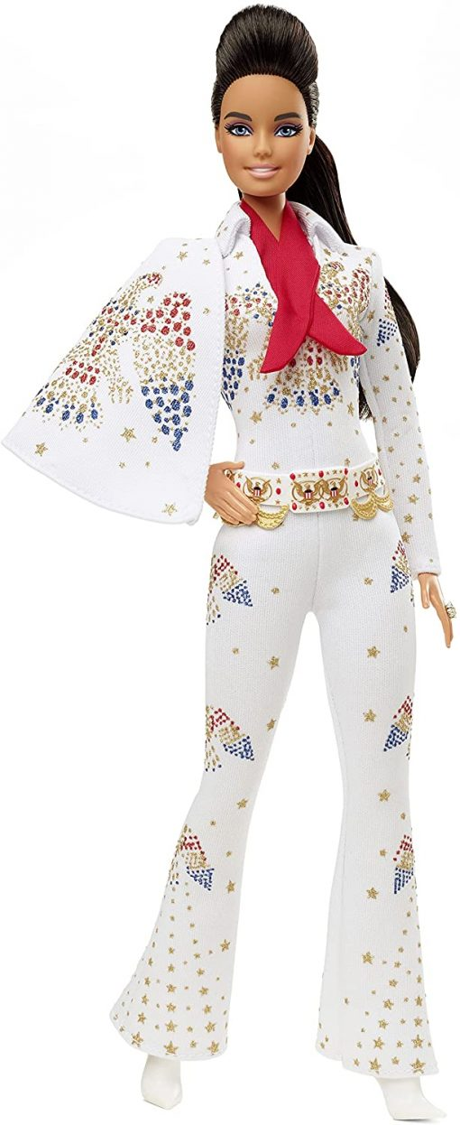 """Barbie Signature Elvis Presley Doll (12-in) with Pompadour Hairstyle, Wearing """"American Eagle"""" Jumpsuit, Gift for Collectors"""