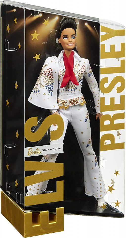 """Barbie Signature Elvis Presley Doll (12-in) with Pompadour Hairstyle, Wearing """"American Eagle"""" Jumpsuit, Gift for Collectors 7"""