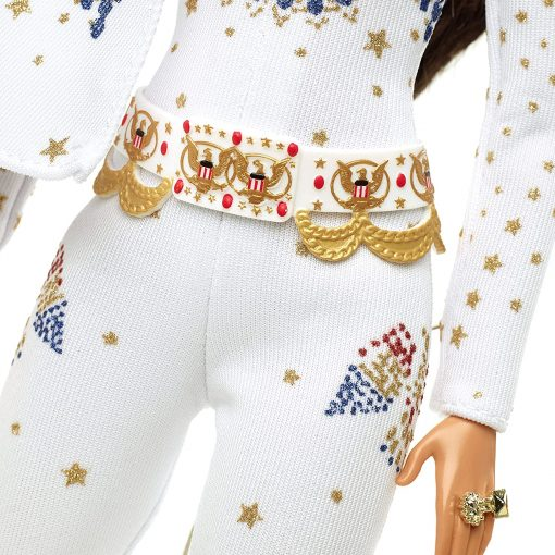 """Barbie Signature Elvis Presley Doll (12-in) with Pompadour Hairstyle, Wearing """"American Eagle"""" Jumpsuit, Gift for Collectors 9"""