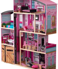 KidKraft KidKraft Shimmer Mansion Wooden Dollhouse for 12-Inch Dolls with Lights & Sounds and 30-Piece Accessories 2