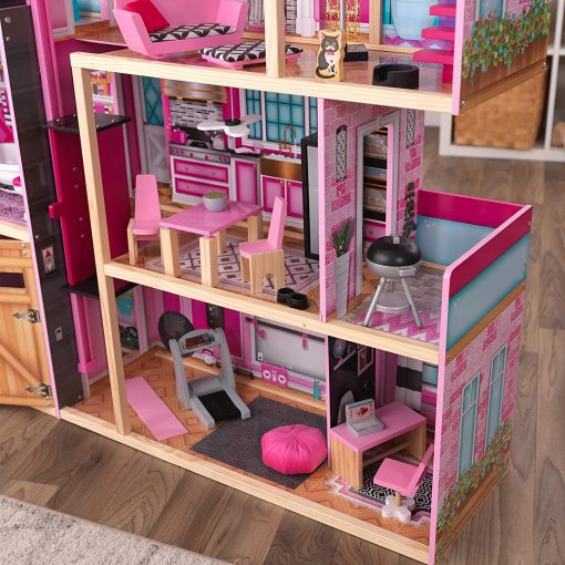 KidKraft KidKraft Shimmer Mansion Wooden Dollhouse for 12-Inch Dolls with Lights & Sounds and 30-Piece Accessories 3