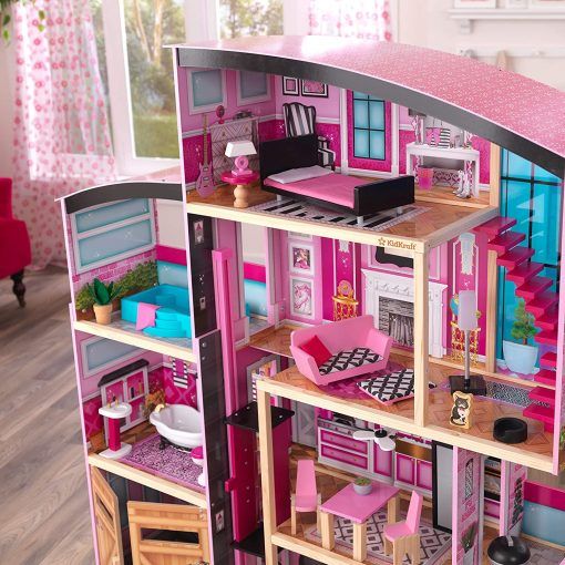 KidKraft KidKraft Shimmer Mansion Wooden Dollhouse for 12-Inch Dolls with Lights & Sounds and 30-Piece Accessories 4