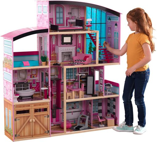 KidKraft KidKraft Shimmer Mansion Wooden Dollhouse for 12-Inch Dolls with Lights & Sounds and 30-Piece Accessories