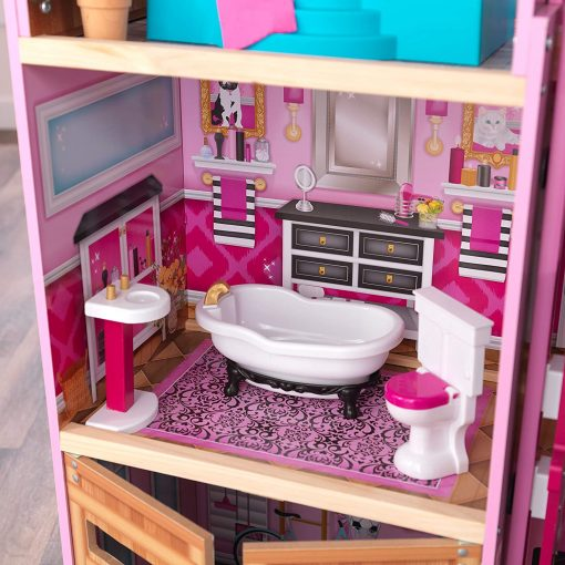 KidKraft KidKraft Shimmer Mansion Wooden Dollhouse for 12-Inch Dolls with Lights & Sounds and 30-Piece Accessories 6