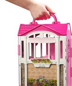 Mattel Barbie Glam Getaway Portable Dollhouse, 1 Story with Furniture, Accessories and Carrying Handle 2
