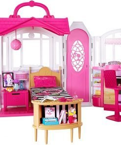 Mattel Barbie Glam Getaway Portable Dollhouse, 1 Story with Furniture, Accessories and Carrying Handle