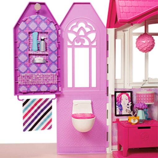 Mattel Barbie Glam Getaway Portable Dollhouse, 1 Story with Furniture, Accessories and Carrying Handle 3