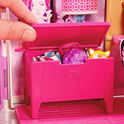 Mattel Barbie Glam Getaway Portable Dollhouse, 1 Story with Furniture, Accessories and Carrying Handle 4