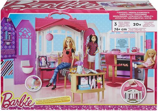 Mattel Barbie Glam Getaway Portable Dollhouse, 1 Story with Furniture, Accessories and Carrying Handle 5